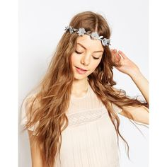 ASOS Soft Flower Headband (£3.51) ❤ liked on Polyvore featuring accessories, hair accessories, hair, grey, beaded hair accessories, leaves headband, hair band headband, headband hair accessories and head wrap hair accessories