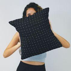 Black Cross-Stitch Toss Pillow Cover