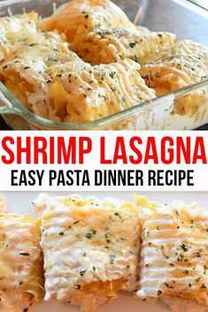Shrimp lasagna rollups are loaded with shrimp, ricotta cheese and covered in alfredo sauce. Easy Pasta Dinner Recipes, Easy Casserole Recipes, Seafood Recipes, Seafood Pasta, Ricotta Cheese Recipes, Lasagna Recipe With Ricotta, Lasagna Recipes, Crab And Shrimp Recipe, Shrimp Lasagna