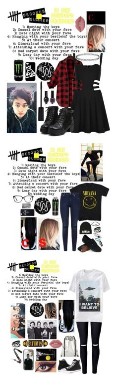 """10 day 5sos challenge"" by xxghostlygracexx ❤ liked on Polyvore featuring Rare London, Samsung, Smashbox, Lime Crime, 7 For All Mankind, Vans, Aime, Ace, CO and Converse"
