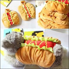 Halloween Pet dog cat clothes Funny hot dog clothes costume Burger turned installed Pretty Puppy interesting spoof cat costume