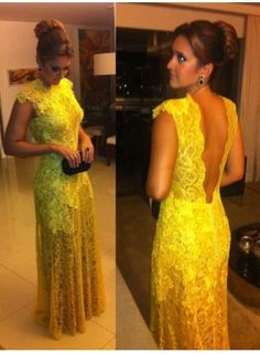 vestido de renda amarelo 2014 Special Occasion Dresses For Evening Prom Party Yellow Lace Floor Length Long BO2356 find more women fashion ideas on www.misspool.com
