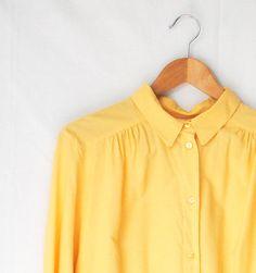 Yellow Button Up Shirt   via Etsy.