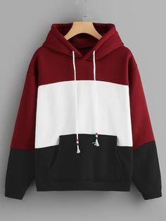 Shop Cut And Sew Drawstring Hoodie at ROMWE, discover more fashion styles online. Teenage Outfits, Trendy Outfits, Cool Outfits, Fashion Outfits, Fashion Styles, Womens Fashion, Stylish Hoodies, Cool Hoodies, Cute Jackets