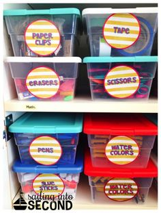 A great way to organize the supplies in your closets!