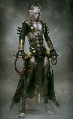 This is just a kinda killer dark demonic elf type fantasy concept character design here. I can't help but notice the veins on his thighs. Um, yes. Best part. Maybe other than the horns. Or skulls.