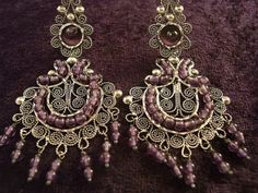 Taxco Mexican Sterling Silver Amethyst Beaded Bead Filigree Earrings Mexico
