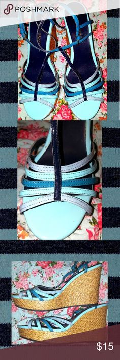 Christian Sariano Striking Blues Wedge Sandals 8.5 These preowned Wedges Sandals colored in a rainbow of blues will go fashionably with a variety of outfits.   They are in good condition.  Any discoloration will be hardly noticeable. Christian Sariano Shoes Wedges
