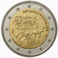 French commemorative €2 coins 2011, The 30th anniversary of the Music Day (Fête de la musique)