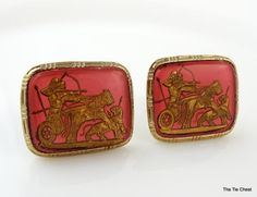 Super fun cufflinks! Large Vintage Cufflinks of Ancient Egyptian Hunters on Chariots with a pink background