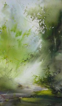 ..focus..damn it! Watercolor Landscape Paintings, Watercolor Trees, Abstract Watercolor, Landscape Art, Watercolor Techniques, Painting & Drawing, Watercolours, Ideas, Type 3