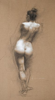 """Reverie IV"" by Shane Wolf, standing nude female posterior back anatomy drawing #NSFW"