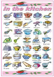 English worksheet: IN THE KITCHEN -UTENSILS AND APPLIANCES PICTIONARY (B&W VERSION  INCLUDED)