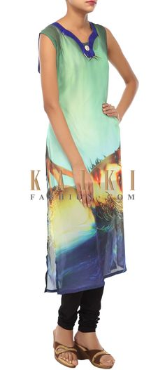 Buy Online from the link below. We ship worldwide (Free Shipping over US$100) http://www.kalkifashion.com/multi-colored-kurti-embellished-in-print-only-on-kalki-13047.html