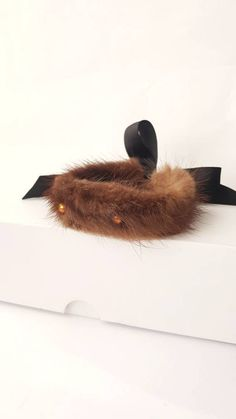 Fur Bracelet with Swarovski Pearls and Ribbon, Contemporary Jewelry, Beaded Fur Winter Bracelet, Statement Up Cycled Fur Armband, Brown Fur