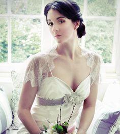 Lace spotted tulle bridal shrug bolero. $198.00, via Etsy.