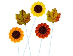 Autumn Sunflowers and Maple Leaves  Marzipop™ Artisan Marzipan Lollipops!  Thanksgiving Place Settings and Hostess Gift - Gorgeous Colors! by marzipops on Etsy