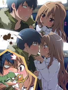 The pocky game :3 Toradora! so cute!