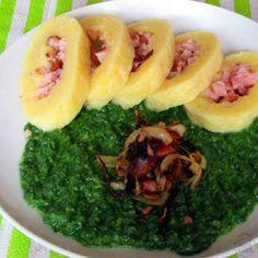 Bramborový knedlík s uzeným masem - Výborný se špenátem nebo zelíčkem Sushi, Ethnic Recipes, Sushi Rolls