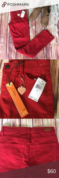 Dittos skinny mid-rise jeans Dittos candy apple red jeans/very soft with just enough stretch to them Dittos Jeans
