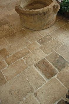 Reclaimed French Limestone - Antique Dalle de Bourgogne - Traditional - Spaces - New York - Pavé Tile, Wood & Stone, Inc. ***** I love the tumbled gritty look of this tile.