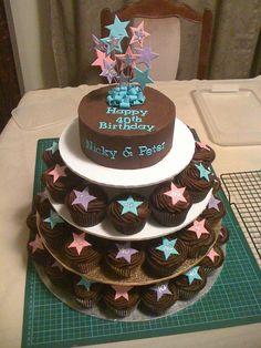 40th birthday cupcake tower