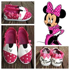 Minnie Mouse inspired shoes minnie mouse pink by PixieInspirations