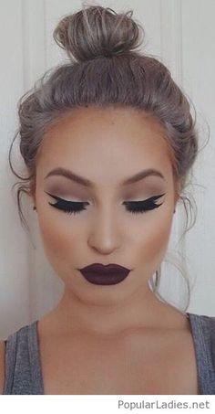 high-bun-and-a-burgundy-lipstick