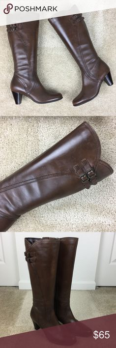 Clarks Tall Brown Leather Knee High Boots Size 7M These Clarks leather boots are in great condition. They have a few very minor scuff marks on them but overall they are in excellent condition. Bottoms are barely worn. Size 7M. Clarks Shoes Heeled Boots