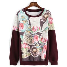 Round Neck Bird Flower Print Sweatshirt ($13) ❤ liked on Polyvore featuring tops, hoodies, sweatshirts, multicolor, floral top, sweater pullover, print pullover, sweatshirt hoodies and colorful tops