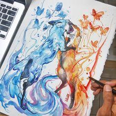 fox watercolor by Jongkie