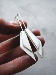 Folded Wings  sterling silver minimal earrings dangle by alibli
