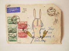 Original Mail art Artwork.   Monoprint on vintage by hensteeth, £35.00