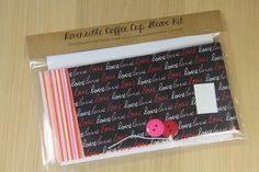 DIY Coffee Cup Sleeve Sewing Kit - Love and Stripes - Ready to Ship by CraftyStaci