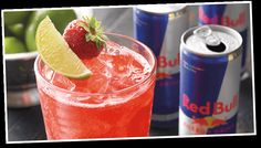 THE STRAWBERRY BULL: For an Outback Steakhouse Bar Strawberry Bull drink, just mix 4oz. of Red Bull, 1oz. of Strawberry mix and 1oz. of Ginger ale, pour in a 12 oz. mug filled with ice then garnish with strawberry or lime.