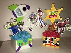 Toy story centerpieces buzz and woody. Toy Story Baby, Toy Story Theme, Toy Story Birthday, Boy Birthday, Birthday Ideas, Cumple Toy Story, Festa Toy Story, Toy Story Centerpieces, Woody Party