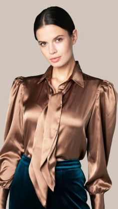 Silky and shiny Bow Blouse, Blouse And Skirt, Satin Top, Silk Satin, Sexy Bluse, Satin Underwear, Satin Dressing Gown, Satin Bluse, Silky Dress