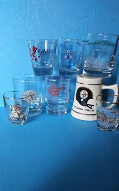 a584fde60a08 Mixed Lot of 8 Shot Glasses Mascots Sports Themed Printed