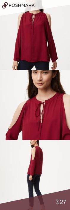 "Ann Taylor LOFT Tie Neck Cold Shoulder Blouse NEW NWT Ann Taylor Loft Tie Neck Cold Shoulder Blouse - Retail price $50-  Color Rustic Red  Product Details: STYLE #447571 A delicate tie neck turns up the flirt of this fluid cold shoulder style. Split neck with ties. Long sleeves. Fabric and Care • 100% Polyester • Machine Washable • Imported  Size XXL - 25"" Across Chest 28.5"" Long LOFT Tops Blouses"