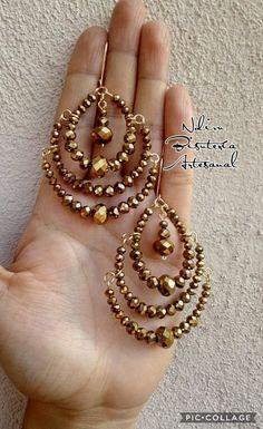 Hoop Earrings – Jewelry & Gifts - Famous Last Words Wire Wrapped Jewelry, Wire Jewelry, Jewelry Crafts, Jewelery, Beaded Jewelry Patterns, Bead Earrings, Handcrafted Jewelry, Wedding Jewelry, Jewelry Design