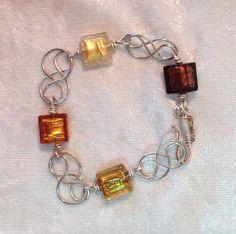 Bracelet, Venetian Glass and Sterling Silver, Original and Handmade