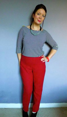 This is a second version of the Sew Over It Ultimate Trouser pattern, made in a red triple wool crepe. Evening One: cut out pieces and overlock seams. Evening Two: make trousers. It was that simple...