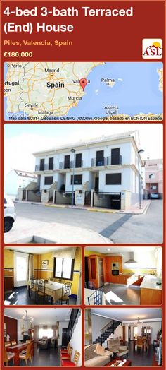 Terraced (End) House for Sale in Piles, Valencia, Spain with 4 bedrooms, 3 bathrooms - A Spanish Life Murcia, Automatic Gate, Corner House, Valencia Spain, House Built, Semi Detached, Nice View, Terrace, Floor Plans