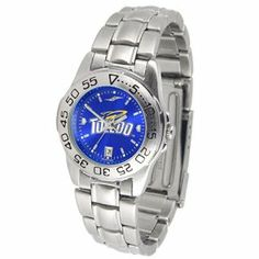 """Toledo Rockets NCAA AnoChrome """"Sport"""" Ladies Watch (Metal Band) by SunTime. $63.00. Calendar Date Function. Rotation Bezel/Timer. Scratch Resistant Face. This handsome, eye-catching watch comes with a stainless steel link bracelet. A date calendar function plus a rotating bezel/timer circles the scratch resistant crystal. Sport the bold, colorful, high quality logo with pride. The AnoChrome dial option increases the visual impact of any watch with a stunning ra..."""