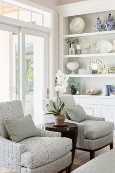 Chairs: Kravet Bellair Club Chairs. Fabric: Kravet #32826-5 Mattydale Rain.  Neutral Coastal Interior Design