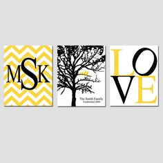 Family Love - Set of Three 11x14 Prints - Chevron Monogram, Family Established Birds Tree, LOVE - Choose Your Colors - Great Wedding Gift. $59.50, via Etsy.