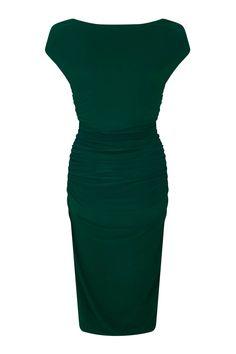 757b1aaf0f Billie Green Ruched Dress by zoe vine - SilkFred Wiggle Dress