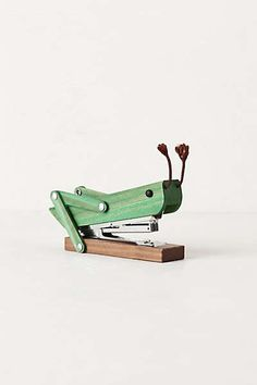 Grasshopper Stapler - eclectic - desk accessories - by Anthropologie Vintage Design, Desk Accessories, Cool Gadgets, School Supplies, Office Supplies, Teacher Supplies, Industrial Design, Modern Industrial, Cool Stuff