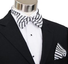 Paul Malone Bow Tie and Pocket Square Set . Charcoal and White Stripes . 100Silk (BT112H) for groom
