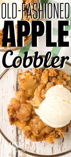 This easy apple cobbler recipe makes a perfect not-too-sweet dessert to savor the apple harvest. Serve it with a scoop of vanilla ice cream! Or skip the ice cream and call it breakfast. Apple Deserts, Apple Dessert Recipes, Apple Crisp Recipes, Köstliche Desserts, Real Food Recipes, Delicious Desserts, Cooking Recipes, Yummy Food, Apple Baking Recipes